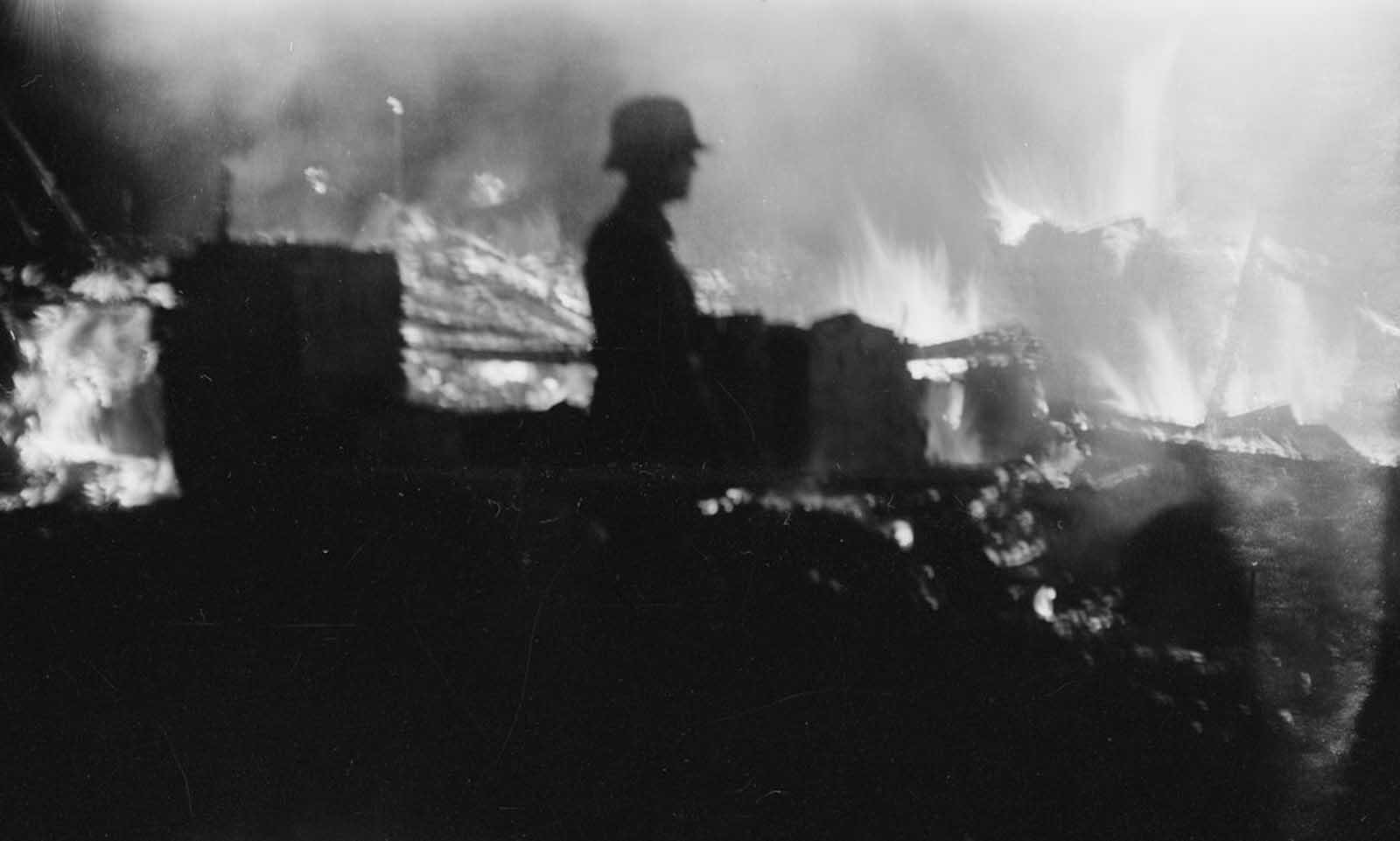 German ammunition depot explosion, February 9, 1942.