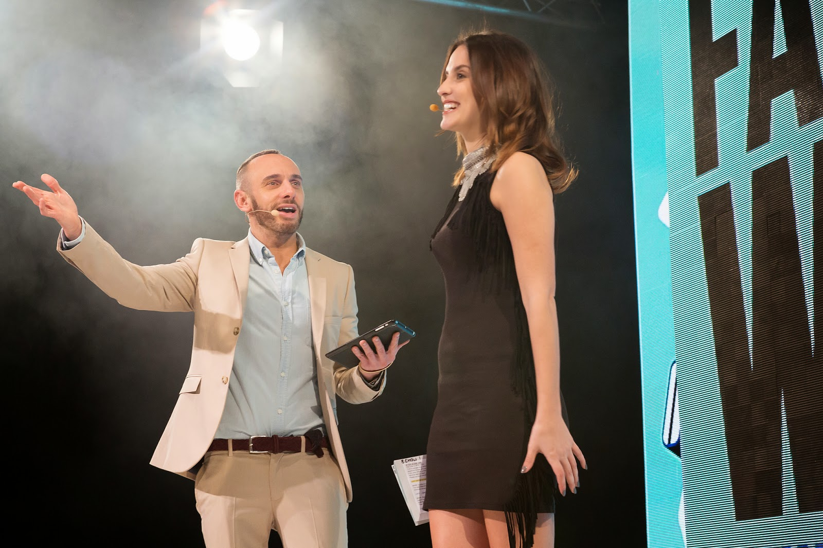 Mark Heyes and Lucy Watson hosting