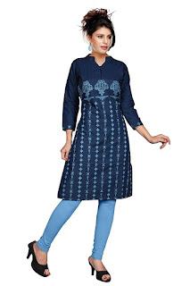 Rs. 860 Printed Shree Denim Kurta by FashionDiya