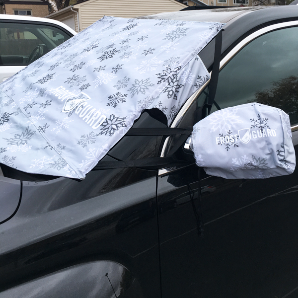 FrostGuard on windshield and side-view mirrors