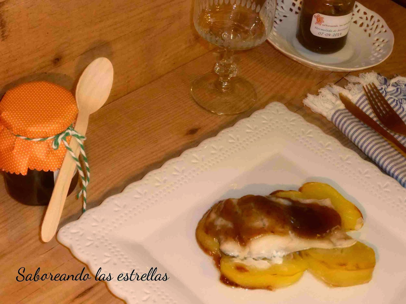 Bacalao gratinado con mermelada de berenjenas