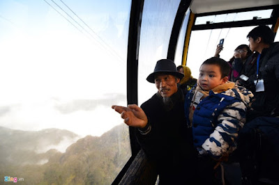 Exciting atmosphere in a cable car