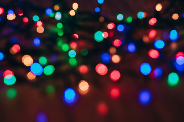 Twinkly Christmas Lights Out of Focus