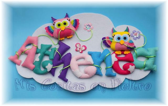 nube, fieltro, nombre, rótulo fieltro, buho de fieltro, decoración bebé, OWL, CORUJA, curuxa, guirnalda, Athenea, Atenea