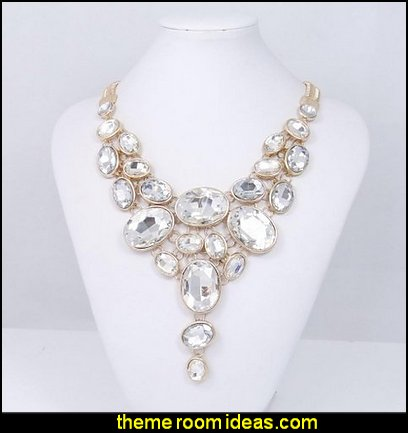 Gold-Tone Art Deco Chunky Oval Clear Rhinestone Bib Statement Necklace