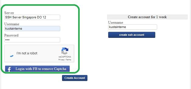 Mengisi Username dan Password Untuk Membuat Akun SSH Gratis