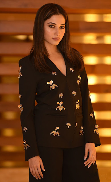 Tamannaah Attended of Tamil Film Devi Wearing a Black Embellished Blazer