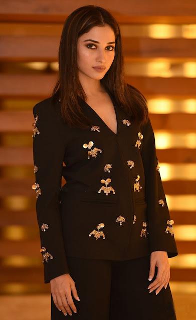 Tamannaah Attended of Tamil Film Devi Wearing a Black Embellished Blazer