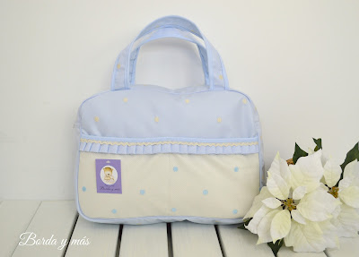 bolso auxiliar celeste beige