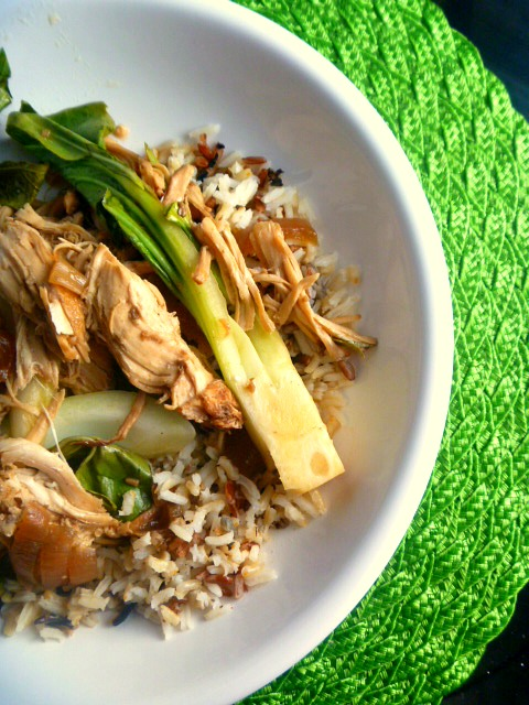 Slow Cooker Adobo Chicken with Bok Choy:  Chicken cooked in a tangy sweet sticky sauce low and slow and then shredded and mixed with the flavorful crunch of bok choy. - Slice of Southern