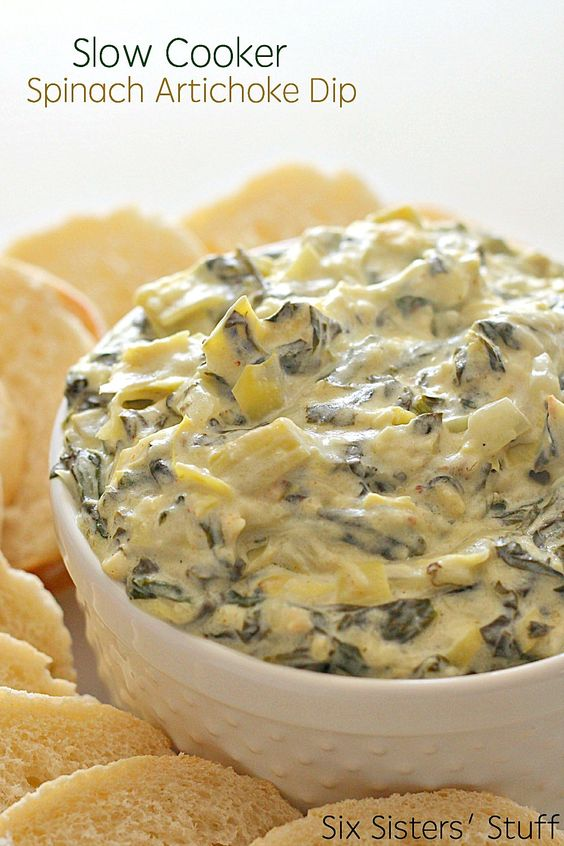 This is the perfect dip for a party or get-together. Throw the ingredients in the crock pot and let it do the rest - you'll have a perfectly creamy, gooey spinach artichoke dip every single time.