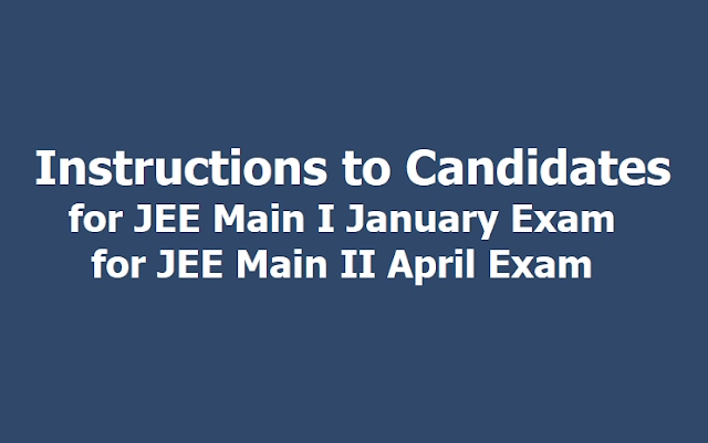 Important instructions to Candidates for JEE Main 2020January Exam