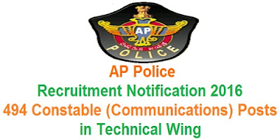 AP Police Constable recruitment in technical wing