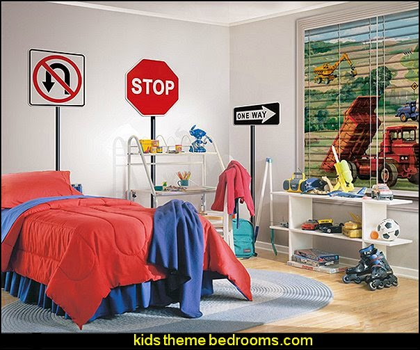 boys bedrooms construction themed LEGO furniture - construction building site - construction themed bedroom decor