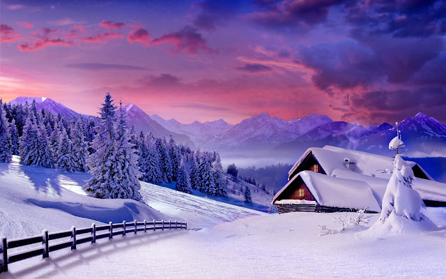 Winter afbeelding met huizen hoog in de bergen
