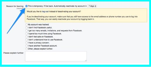 how do i deactivate facebook account temporarily