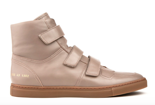 c4ab5fcfe563fd Taking Beige To New Heights: Robert Geller X Common Projects Velcro High  Top Sneaker | SHOEOGRAPHY