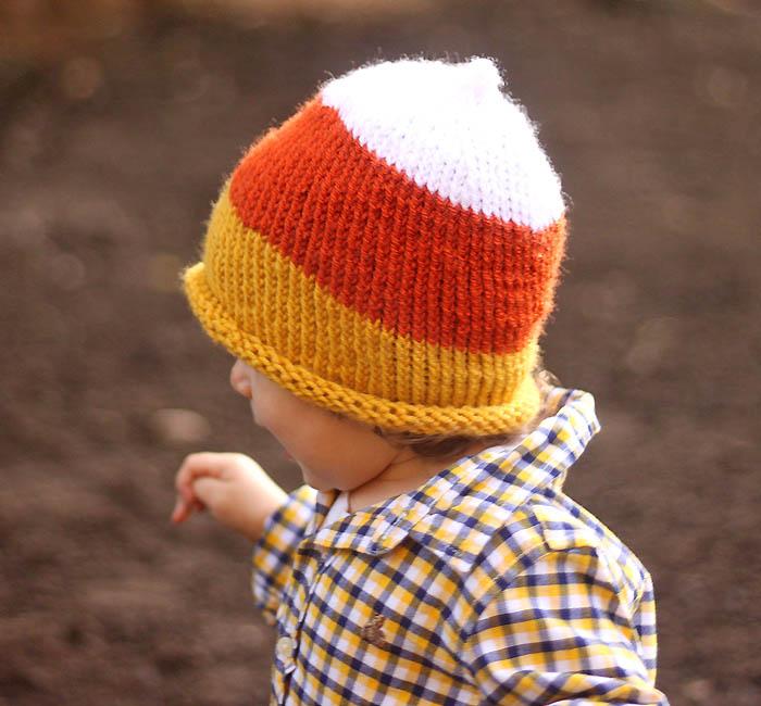 Toddler Candy Corn Hat knitting pattern