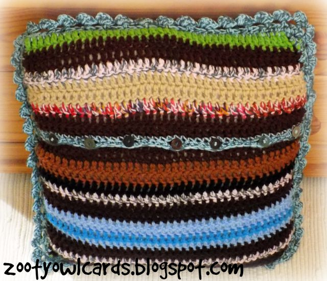 crochet stripe cushion
