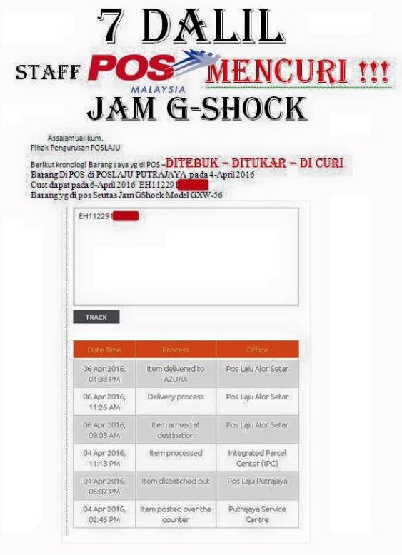 """Staff Pos Malaysia Curi Jam Kami!"" – GShock Ampang"