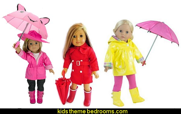 Rain Outfit - Includes Rain Jacket, Umbrella, Boots, Hat, Pants, and Shirt