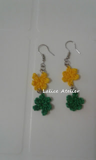 flor crochê, brinco flor crochê, flor verde amarela, brinco do Brasil
