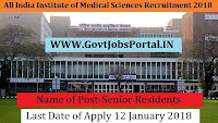 All India Institute of Medical Sciences Recruitment 2018 – 84 Senior Residents