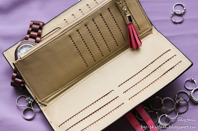 Ladies PU Leather Tassel Umbrella Long Clutch Wallet Card Holder Purse Handbag