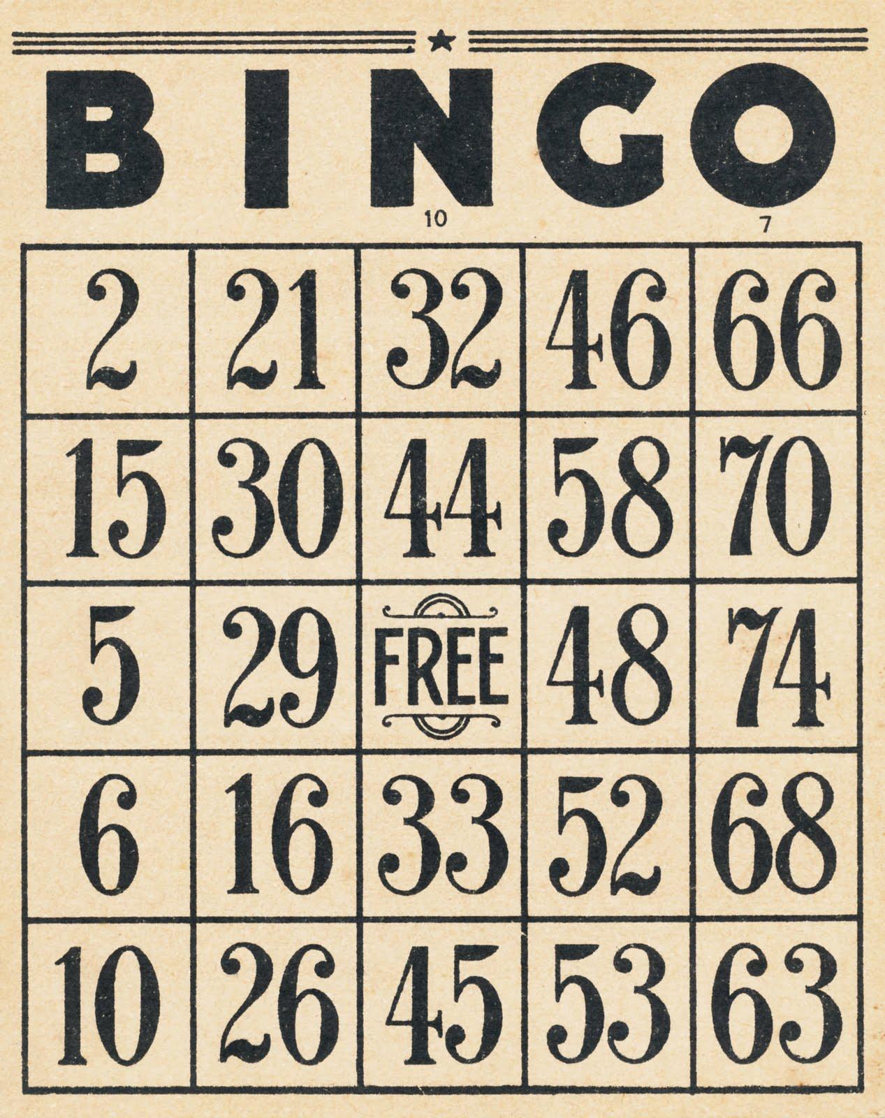 Vintage Bingo Card 86