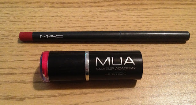 mua red lipstick and mac red enriched lip liner