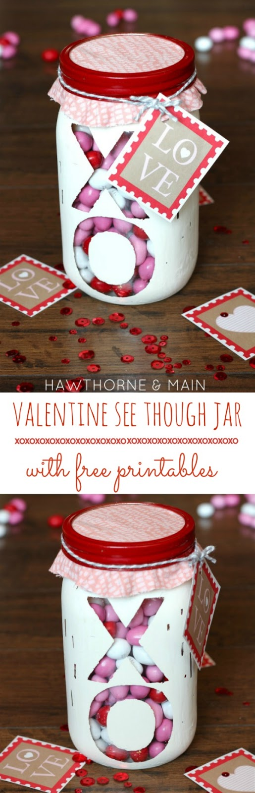 Valentines day mason jar diy project with free printable gift tag valentines day mason jar filled with candy and free printable an easy valentines day diy solutioingenieria Choice Image