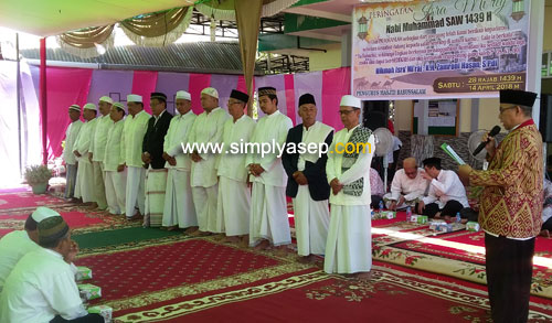 PELANTIKAN : Pada acara Peringatan isra Miraj dan peletakan Batu pertama di Masjid Babussalam Duta Bandara (13/4) juga dilakukan pelantikan Kepengrusan Masjid Babussalam 2019-2021. Foto Asep Haryono