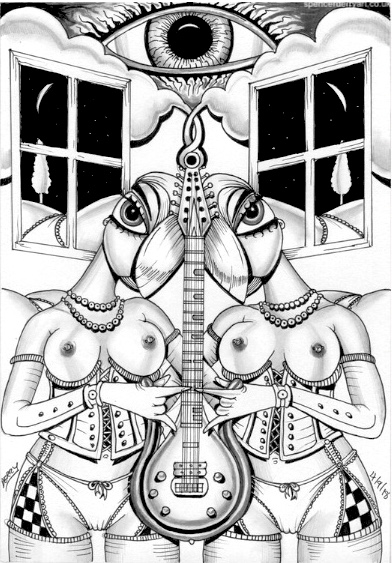 Two scantly clad females in lingerie, twin semi-nudes holding a inspired Gus guitars Prince guitar in a surreal landscape.