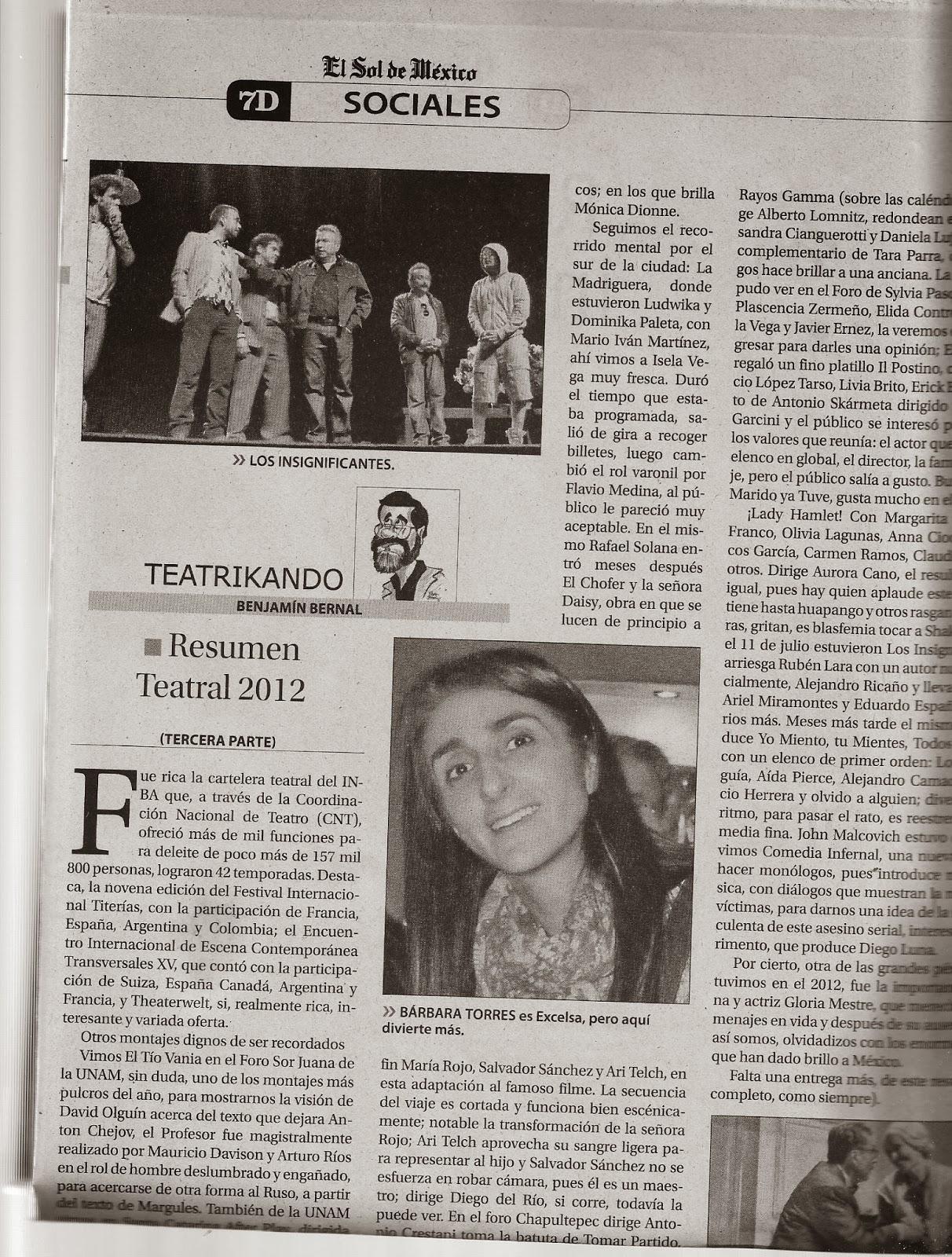 Anuario Teatral Columnas 2013 Benjamin Bernal (Primer semestre) 8368fb1dc07b