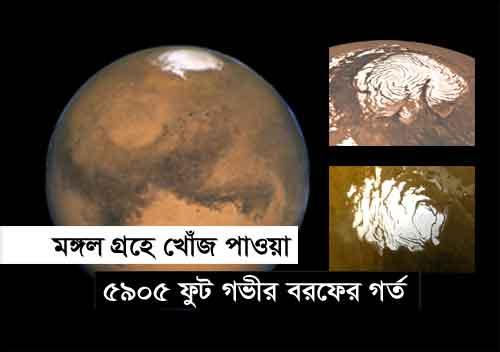 মঙ্গল গ্রহ-এ খোঁজ পাওয়া ৫৯০৫ ফুট গভীর বরফের গর্ত, mars planet 5905 feet ice hole