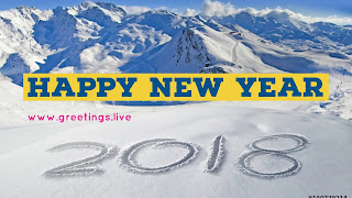 White Ice Mountain New Year 2018 Greeting imag
