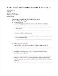 Format Laporan Prakondisi PLPG 2017