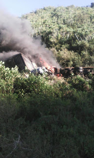 Fuel Tanker Bursts Into Flames After Crashing Into 5 Vehicles Along Mai-Mahiu Road