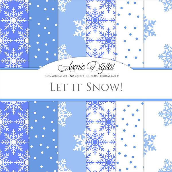 Free Winter Snow Digital Papers - AVENIE DIGITAL