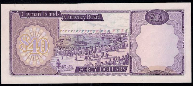 Cayman Islands banknotes forty Dollars, Cayman Pirates Week Festival