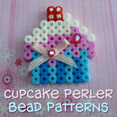 Cute cupcakes theme perlers designs and patterns to follow