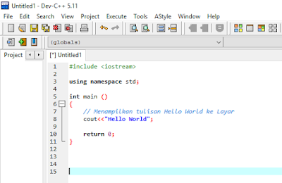 Source program hello world di C++ dengan Dev-C++