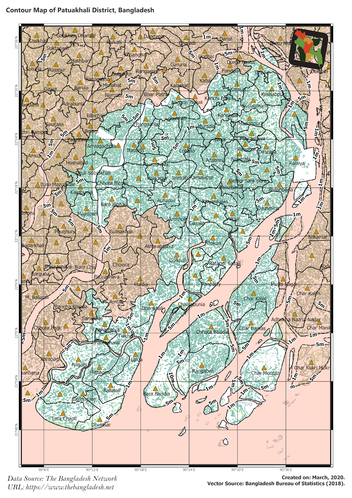 Elevation Map of Patuakhali District of Bangladesh