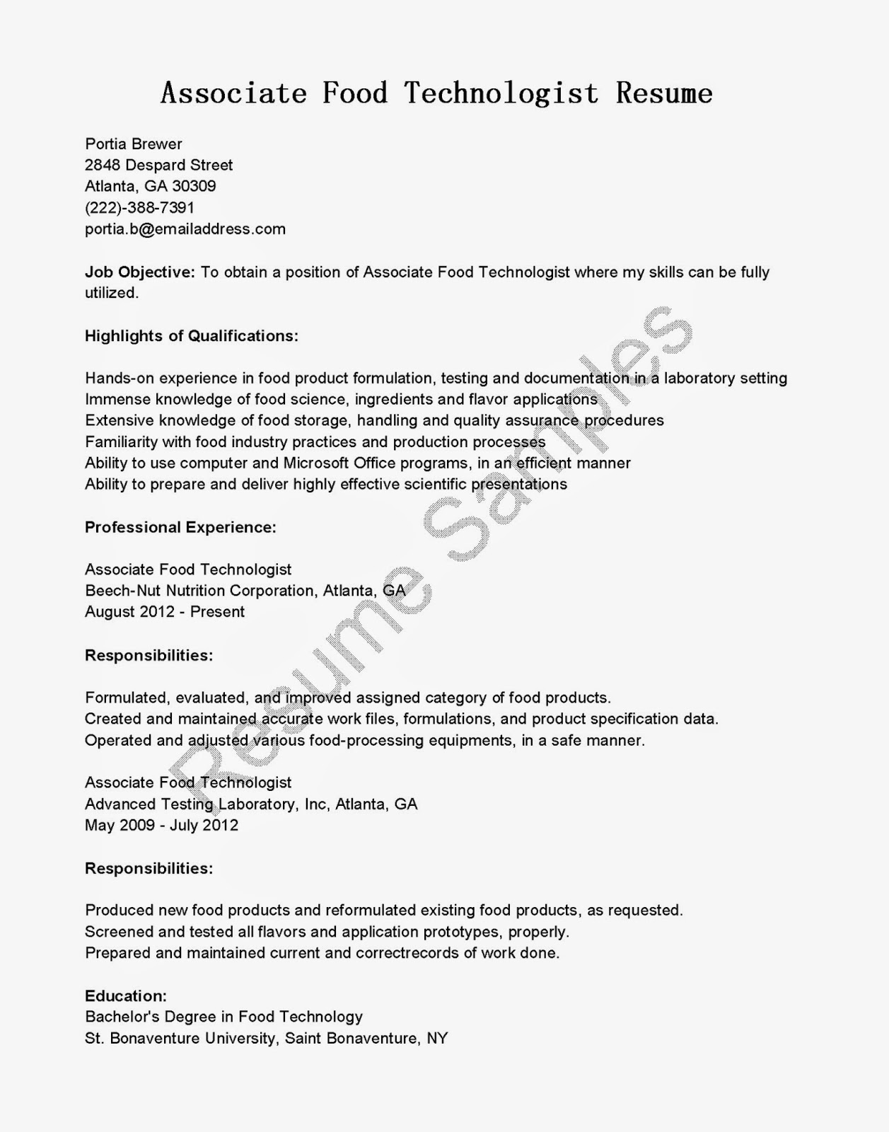 Resume Samples Associate Food Technologist Sample