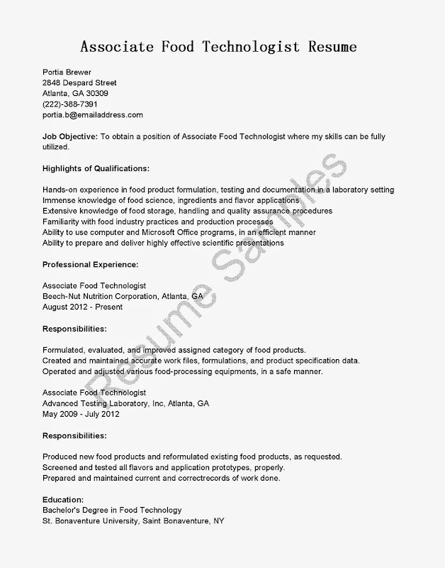 Resume Food Science Sample In Food Service Resume Entry Level