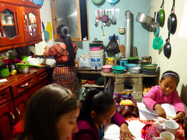 Inside the kitchen of our homestay family in San Jorge la Laguna, Lake Atitlan, Guatemala