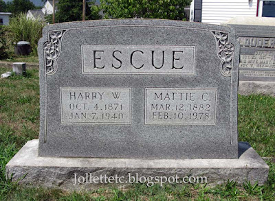 Tombstone Mattie Coleman and Harry Escue  https://jollettetc.blogspot.com
