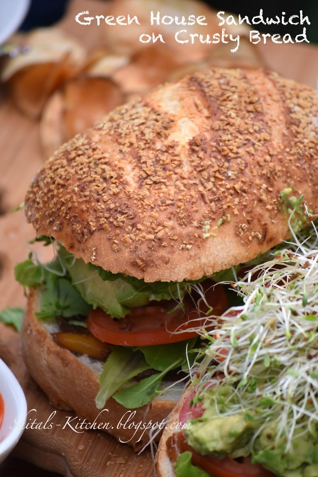 shital u0027s kitchen green house sandwich on crusty bread