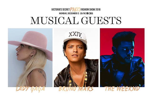 Lady Gaga, Bruno Mars y The Weeknd se presentarán en el Victoria's Secret Fashion Show