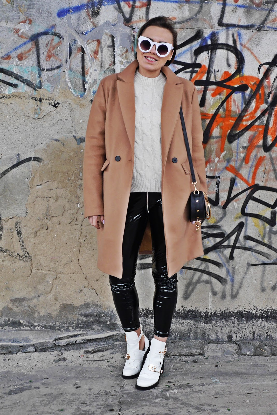 baige coat binyl pants outfit balanciaga cut out shoes karyn blog modowy